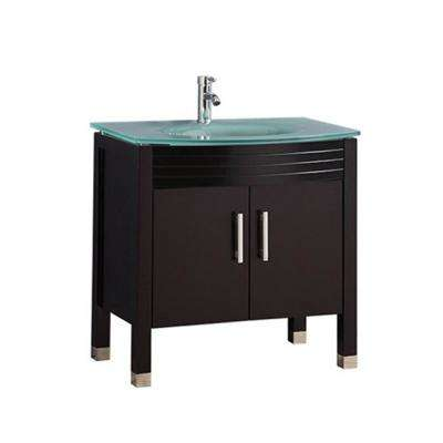 Fort 32 in. W x 21 in. D x 36 in. H Bath  Vanity in Espresso with Aqua Tempered Glass Vanity Top with Glass Basin