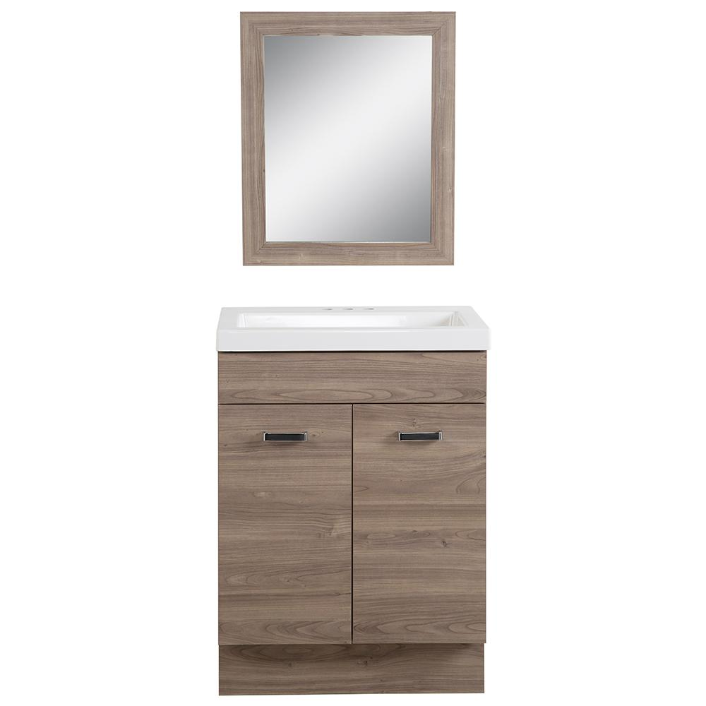 Sandlyn 24.5 in. W Bath Vanity in Forest Elm with Cultured Marble Vanity Top in White with White Basin and Mirror