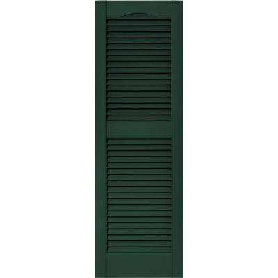 15 in. x 48 in. Louvered Vinyl Exterior Shutters Pair in #122 Midnight Green