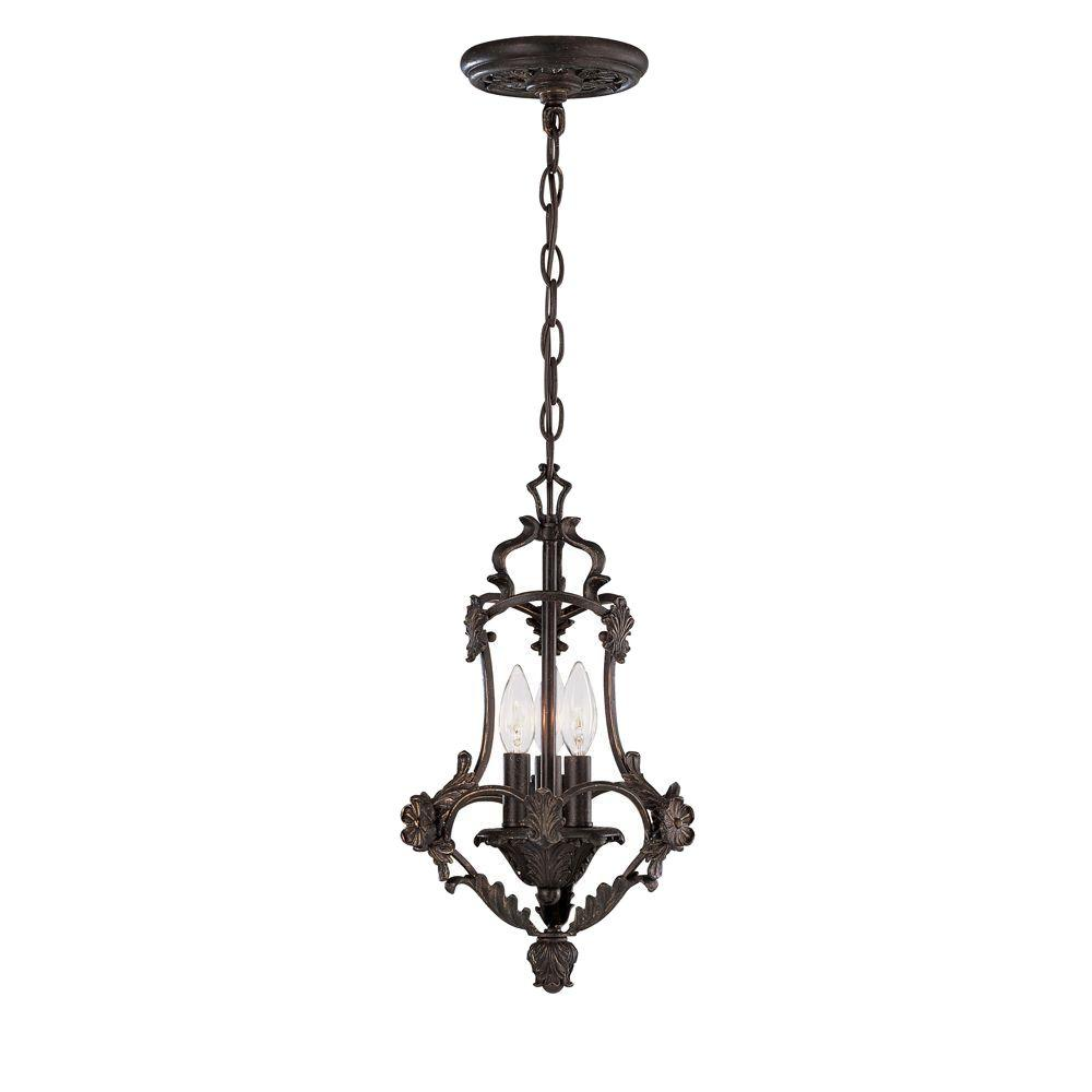 World Imports Salerno Collection 3-Light Bronze Glassless Pendant-DISCONTINUED
