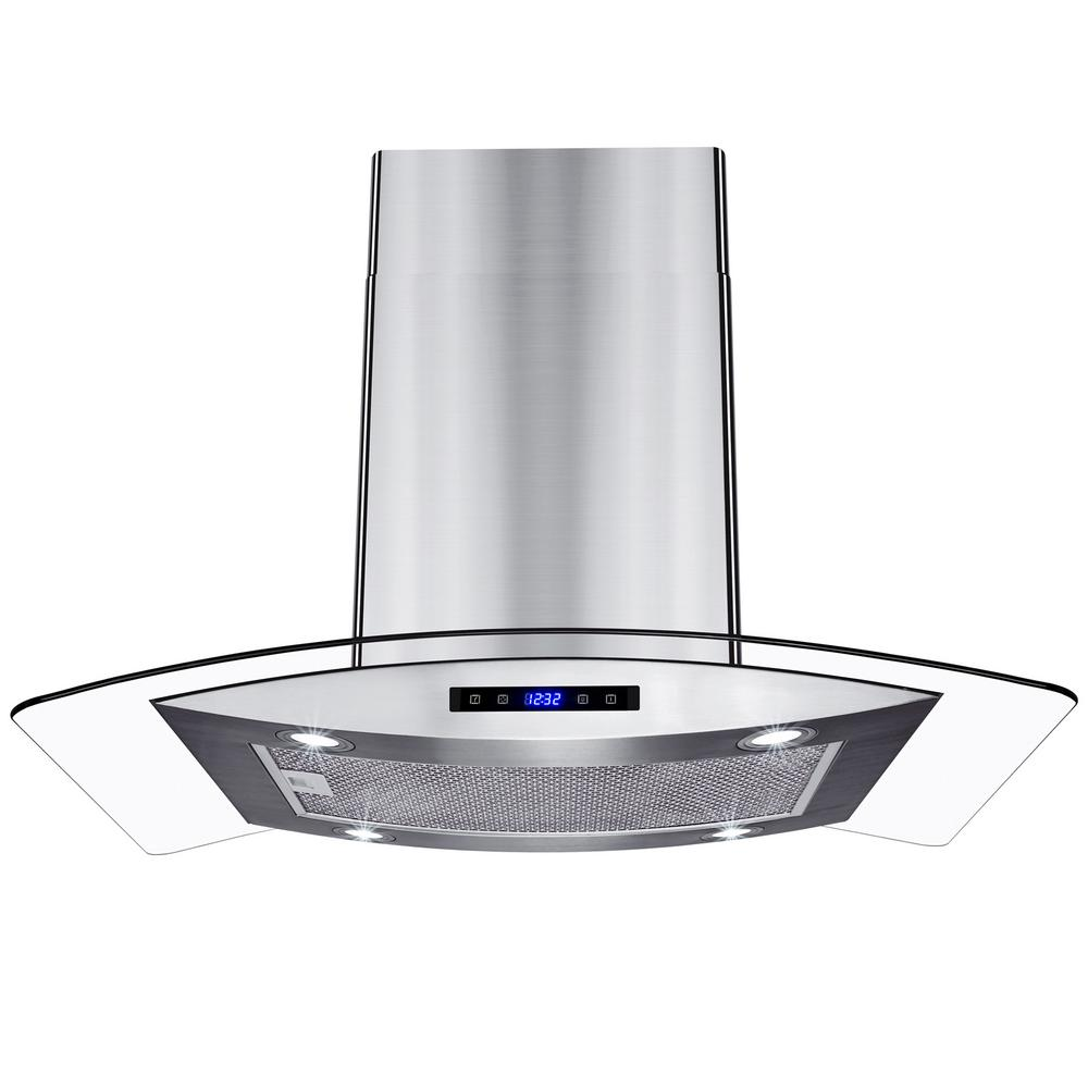 36 in. Kitchen Island Mount Range Hood in Stainless Steel with
