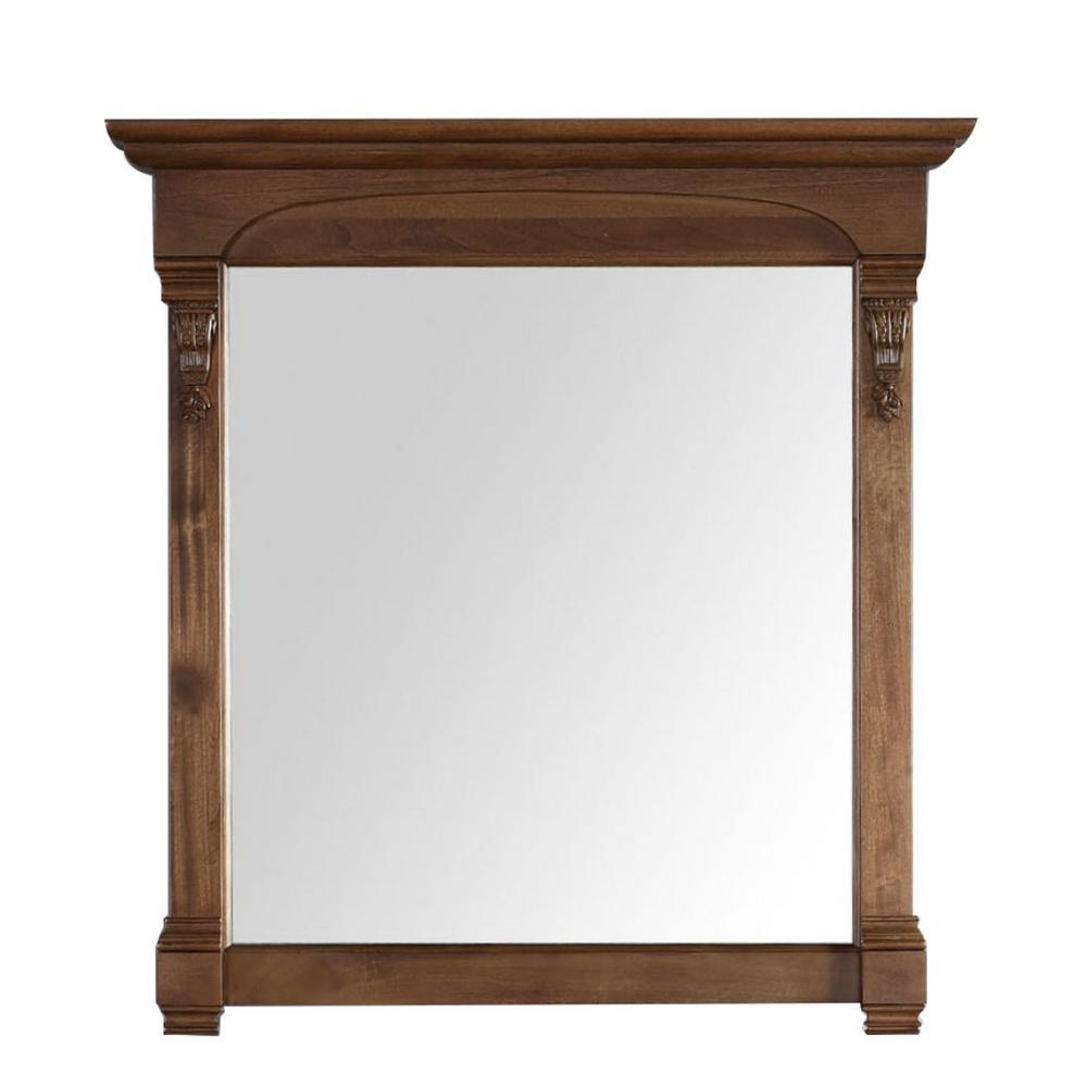 Brookfield 40 in. W x 42 in. H Framed Wall Mirror in Country Oak
