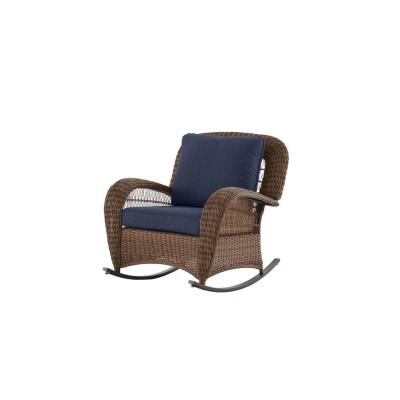 Beacon Park Brown Wicker Outdoor Patio Rocking Chair with CushionGuard Midnight Navy Blue Cushions