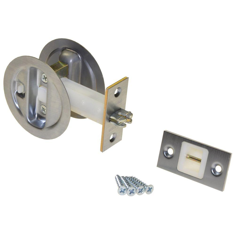 Johnson Hardware Brushed Nickel Pocket Door Privacy Lock