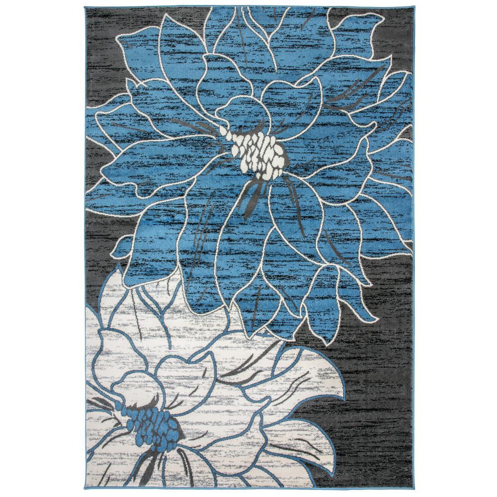 """Large Floral Design Area Rug 7'10"""" x 10' Blue"""