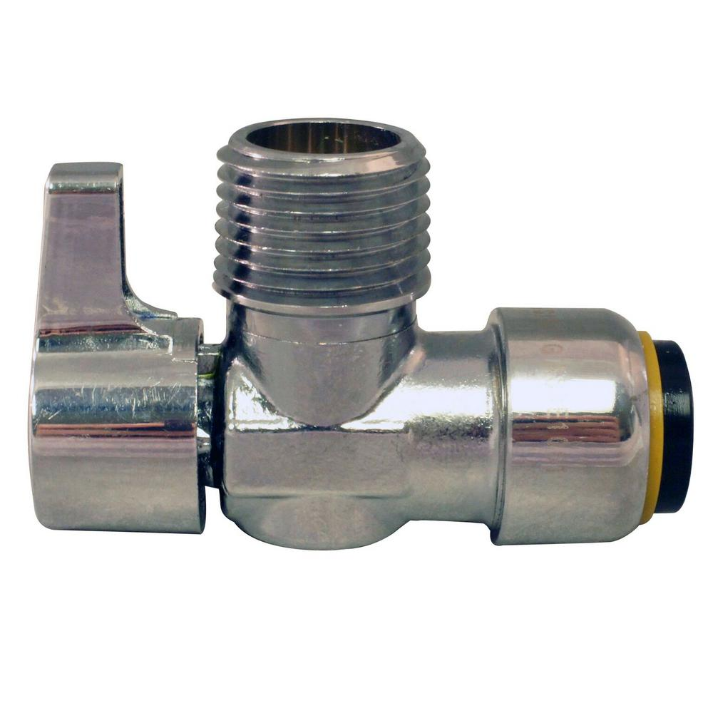 1/2 in. Chrome-Plated Brass Push-to-Connect x 1/2 in. MIP Brass Quarter-Turn