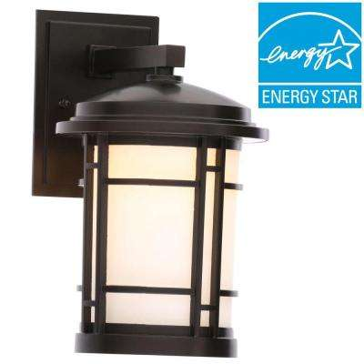 7 in. Burnished Bronze Outdoor Integrated LED Wall Mount Sconce with White Opal Glass