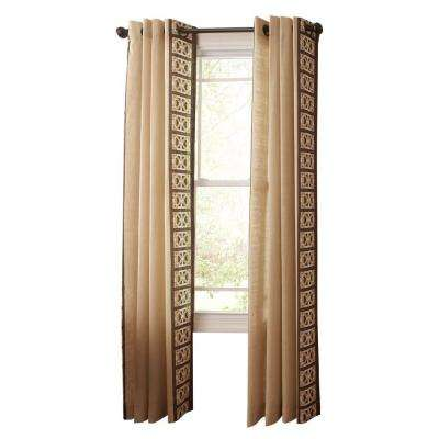 Geo Border Light Filtering Window Panel in Buckwheat Flour - 50 in. W x 108 in. L