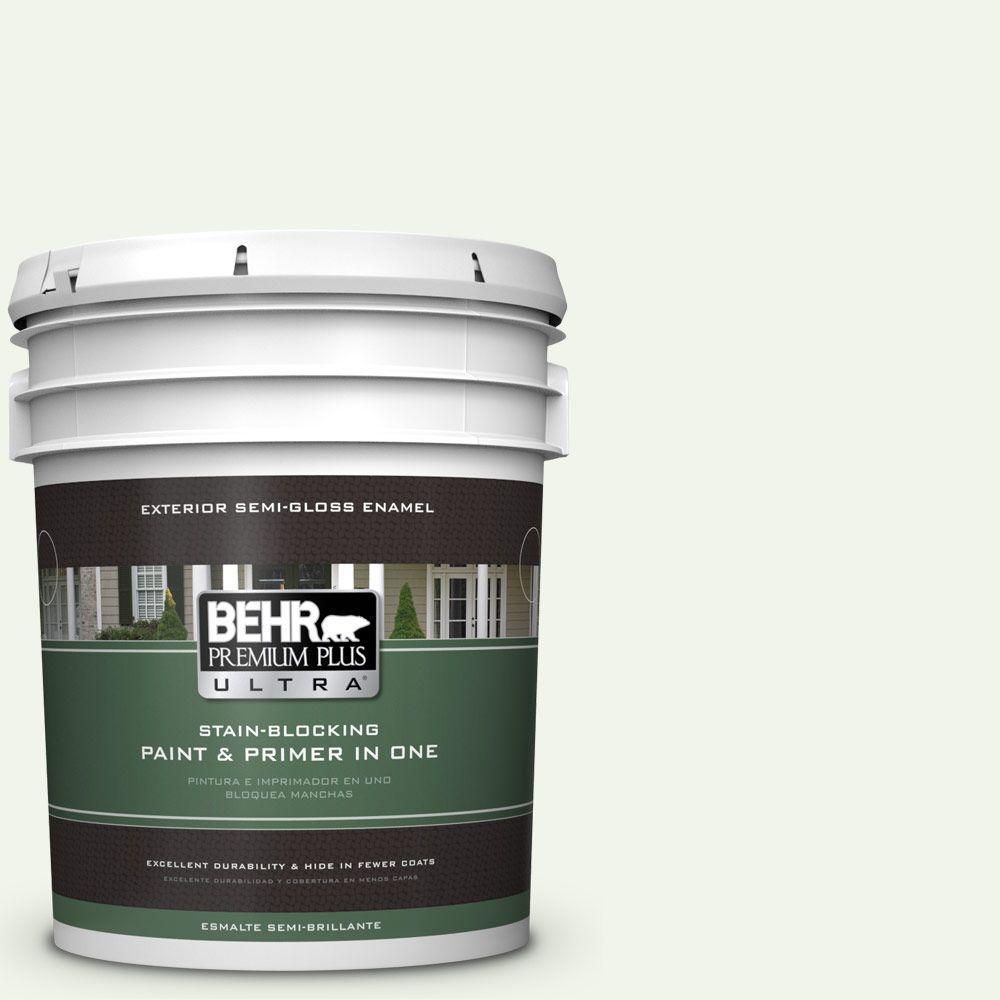 BEHR Premium Plus Ultra 5-gal. #GR-W10 Calcium Semi-Gloss Enamel Exterior Paint