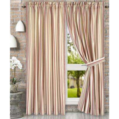 Mason 90 in. W x 63 in. L Stripe Poly/Cotton Tailored Pair Curtains with Ties in Clay