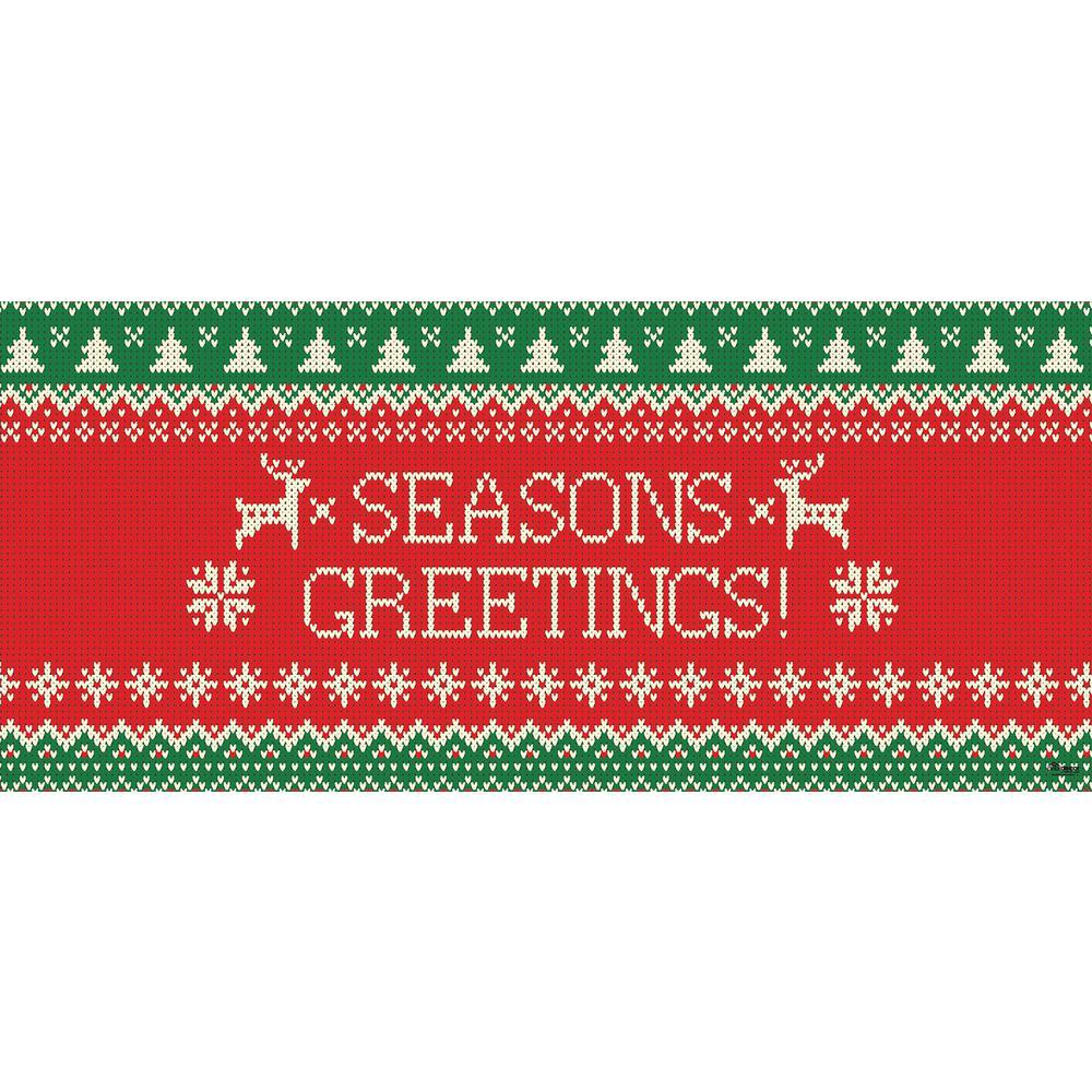 7 ft. x 16 ft. Ugly Christmas Sweater Seasonal Greetings-Christmas Garage Door Decor Mural for Double Car Garage