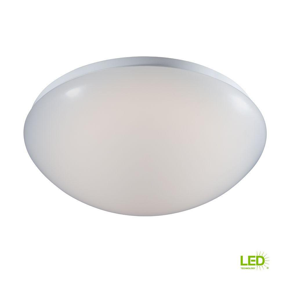 Commercial Electric 11 in. Low-Profile White Integrated LED Round Puff Flush Mount