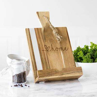 Love Home Marble and Acacia Tablet Recipe Stand