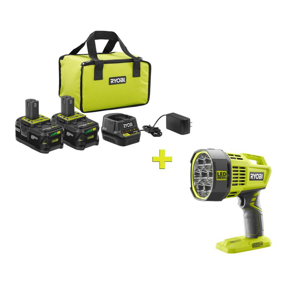 RYOBI 18-Volt ONE+ High Capacity 4.0 Ah Battery (2-Pack) Starter Kit with Charger and Bag w/FREE ONE+ DualPower LED Spotlight was $281.97 now $99.0 (65.0% off)