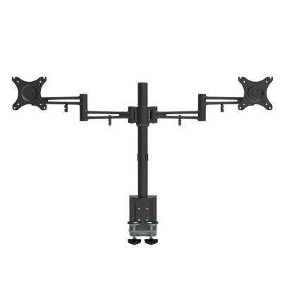 Gas Spring Dual Monitor Arm Desk Mount Stand Fits 10 in. - 27 in. Computer with Clamping 22 lbs. Per Arm
