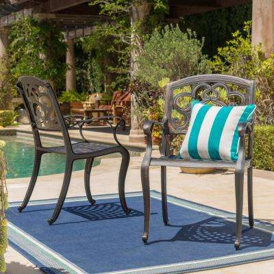 Copper Scroll-Designed Cast Aluminum Outdoor Dining Chair (2-Pack)