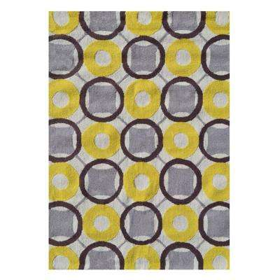 Rounders Yellow 5 ft. x 7 ft. Indoor Area Rug