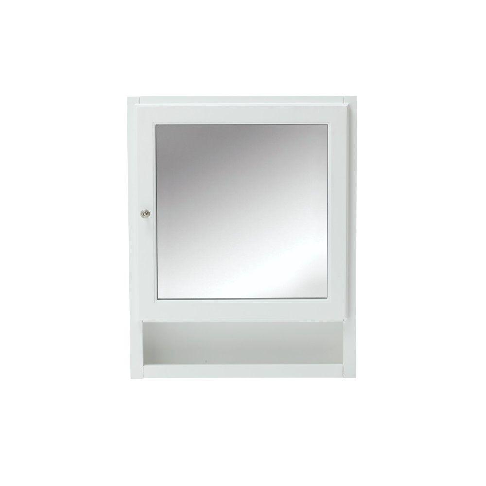 Home Decorators Collection Ridgemore 24 In. W Mirrored Wall Cabinet In White