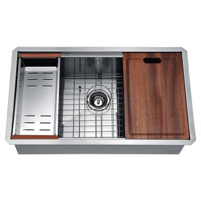 Aegis Undermount Stainless Steel 32.75 in. Single Bowl Kitchen Sink with Cutting Board and Colander