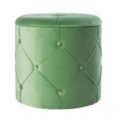 15.5 in. H Green Round Wooden Velvet Ottoman Stool with Lid