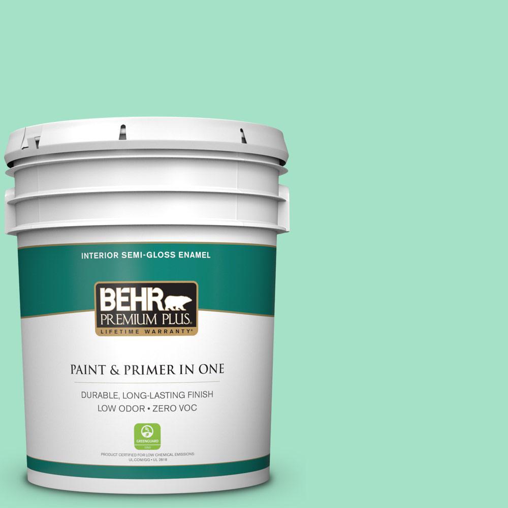 5 gal. #470A-3 Reef Green Semi-Gloss Enamel Zero VOC Interior Paint