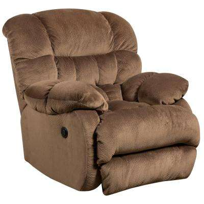 Contemporary Sharpei Espresso Microfiber Power Recliner with Push Button