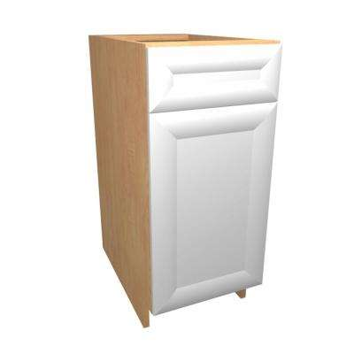 18x34.5x24 in. Dolomiti Base Cabinet with 1 Rollout Tray 1 Soft Close Door and 1 Soft Close Drawer in Bianco