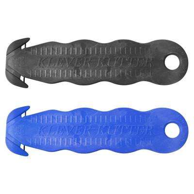 Steel Blade Plastic Handle Safety Cutter, Blue and Black (5-Pack)