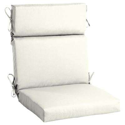 Sunbrella Canvas White High Back Outdoor Dining Chair Cushion  sc 1 st  Home Depot : lounge chair pads outdoor - Cheerinfomania.Com