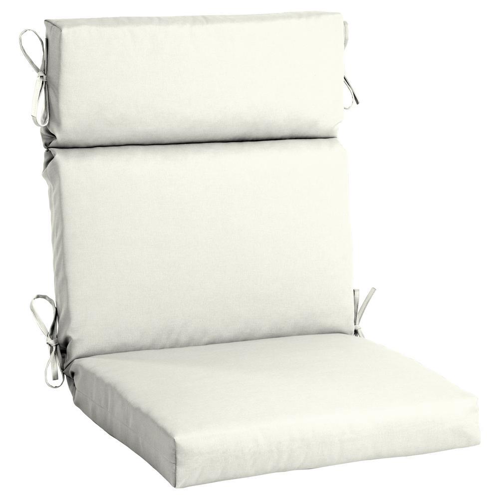 21.5 x 44 Sunbrella Canvas White High Back Outdoor Dining Chair Cushion