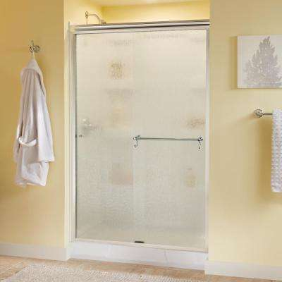 Portman 48 in. x 70 in. Semi-Frameless Sliding Shower Door in Chrome with Rain Glass