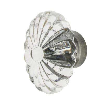 Oval Fluted Crystal 1-3/4 in. Cabinet Knob in Antique Pewter