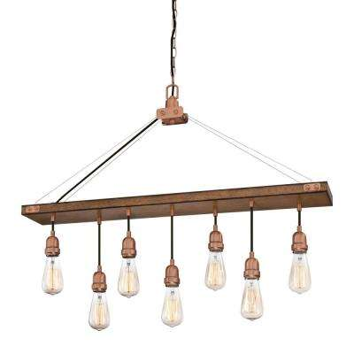 Elway 7-Light Barnwood with Washed Copper Chandelier