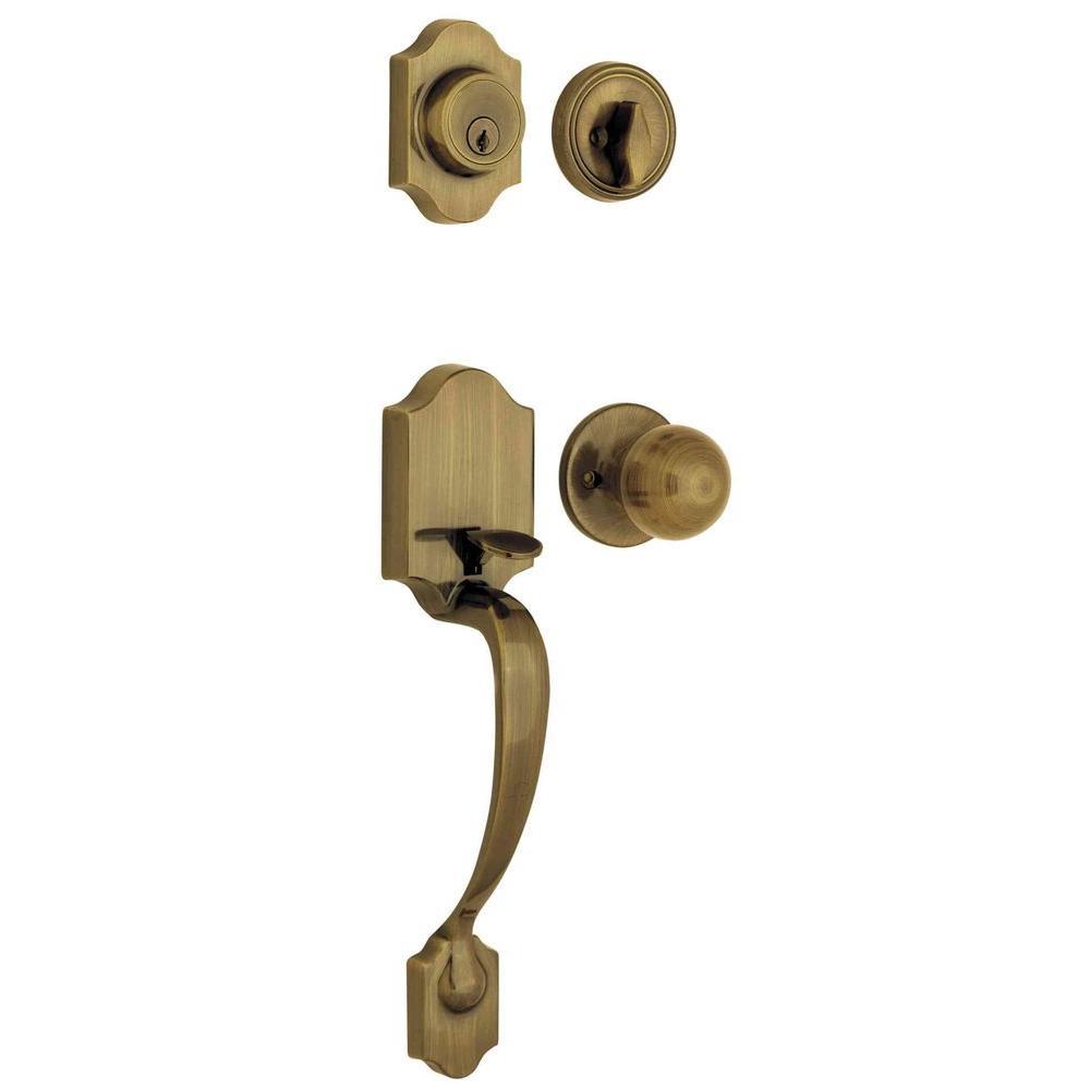 Ultra Hardware Gladwyne Antique Brass Handle Set and Single Cylinder Deadbolt