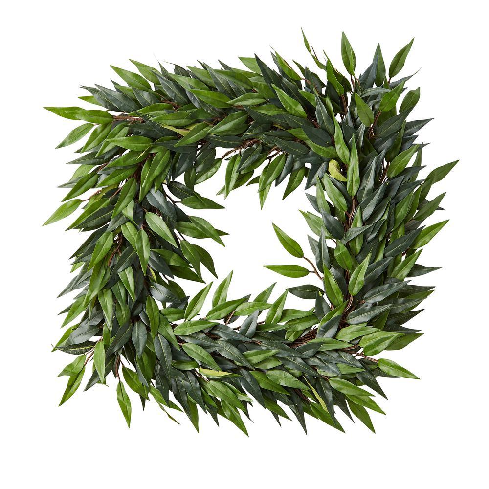 22 in. Square Artificial Ficus Microphylla Leaf Wreath