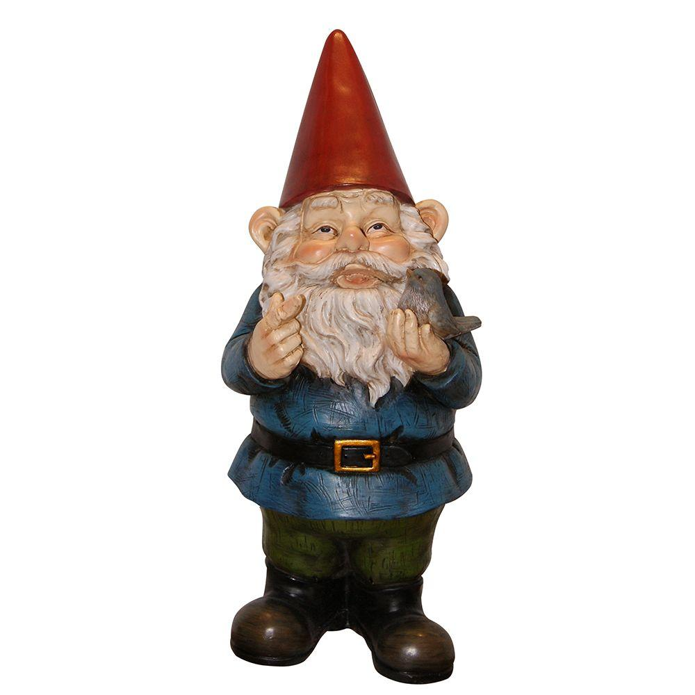 Gnome In Garden: Alpine 12 In. Garden Gnome Holding A Bird-WAC406