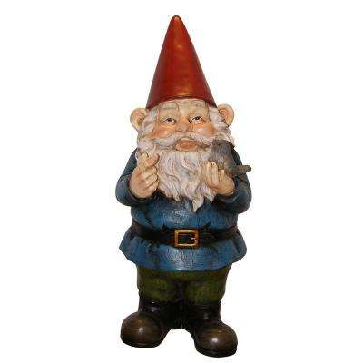 12 in. Garden Gnome Holding a Bird