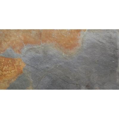 Multi 12 in. x 24 in. Textured Slate Stone Look Floor and Wall (10 sq. ft. / case)