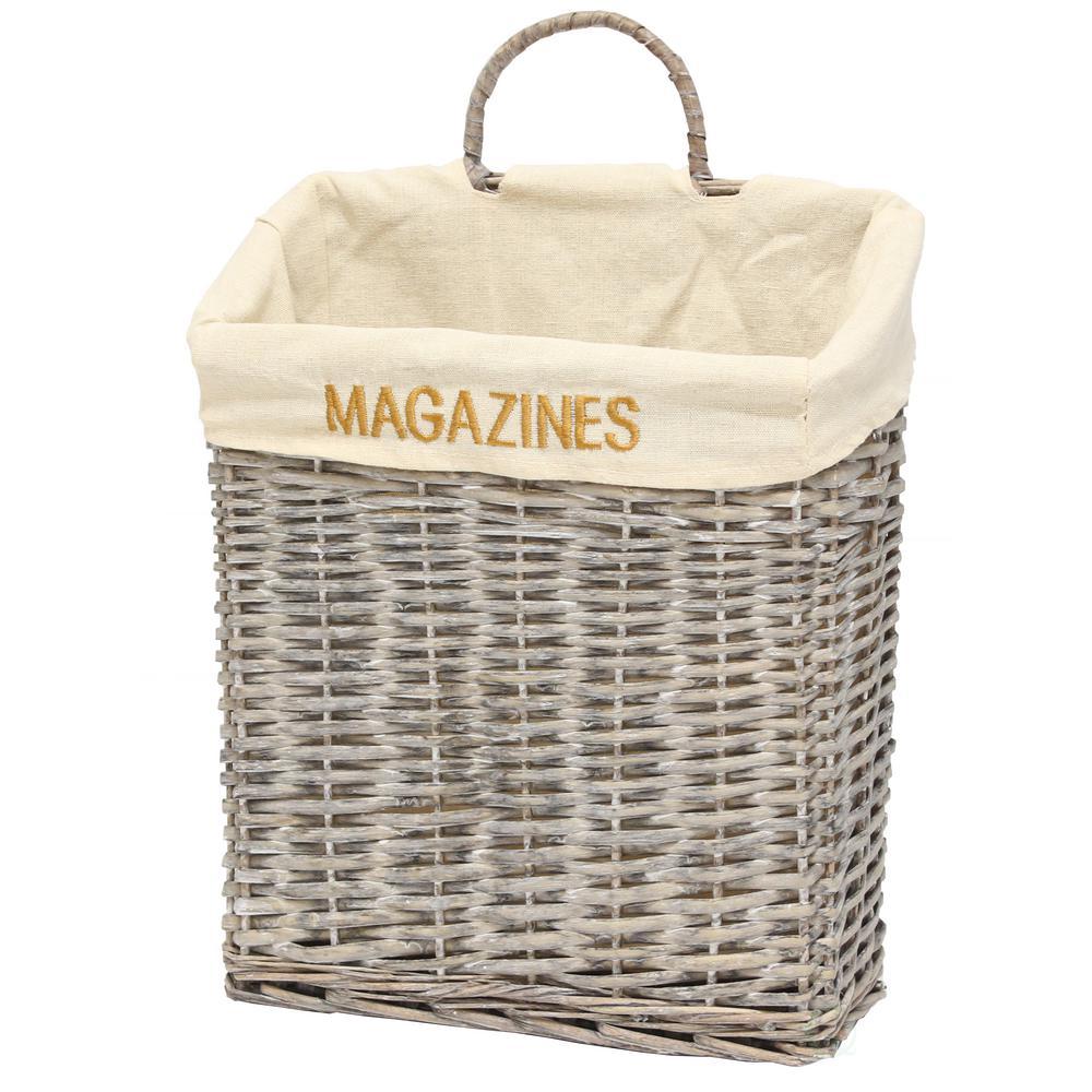 """12.4"""" W x 14"""" H x 5.25"""" Wicker Vintage Magazine Basket"""