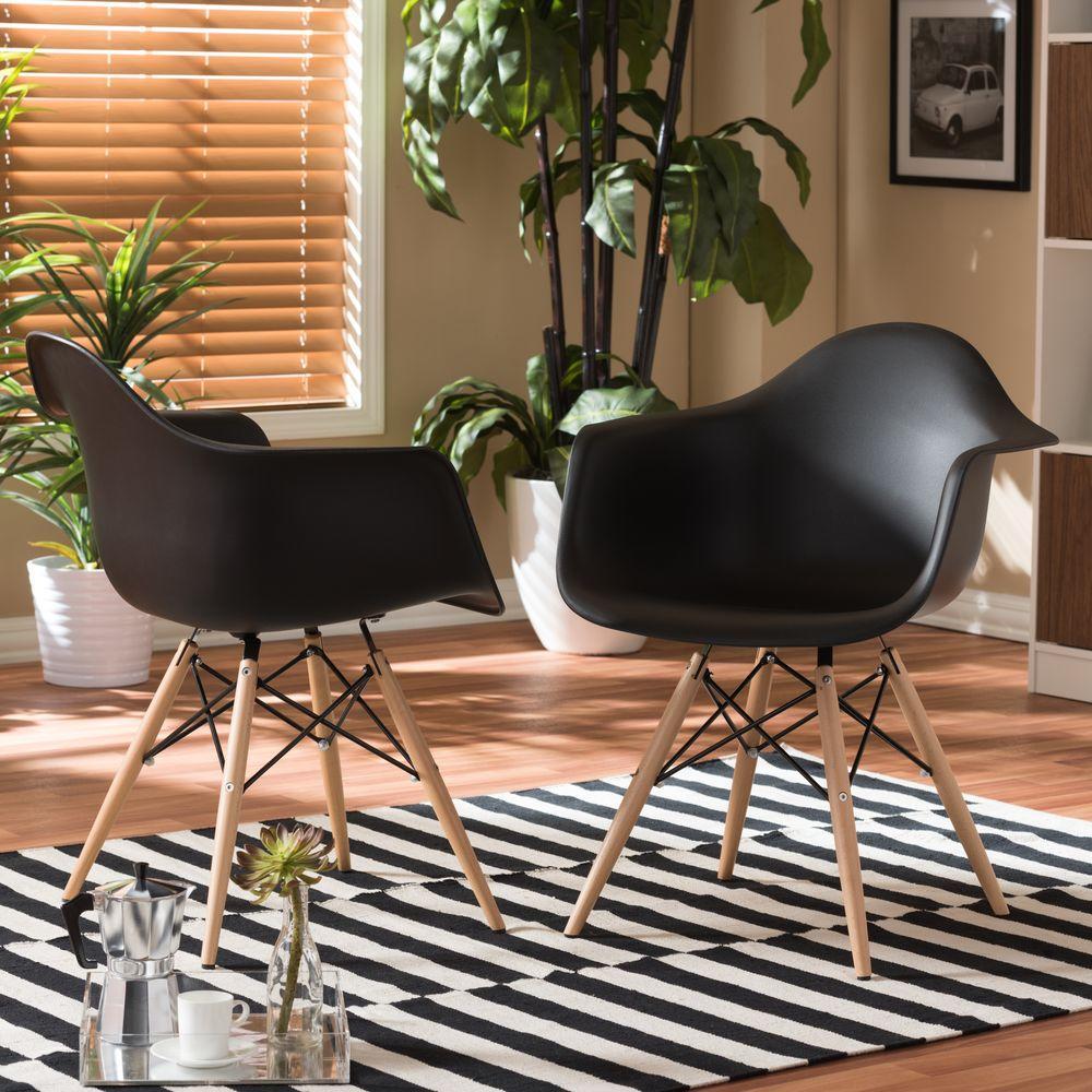 Baxton Studio Pascal Black Plastic Chairs (Set Of 2)