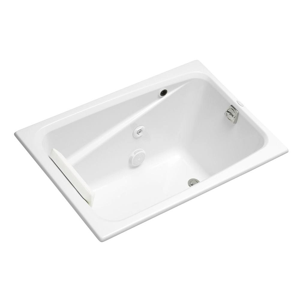 KOHLER Greek 4 ft. Acrylic Rectangular Drop-in Non-Whirlpool Bathtub in White with Heater