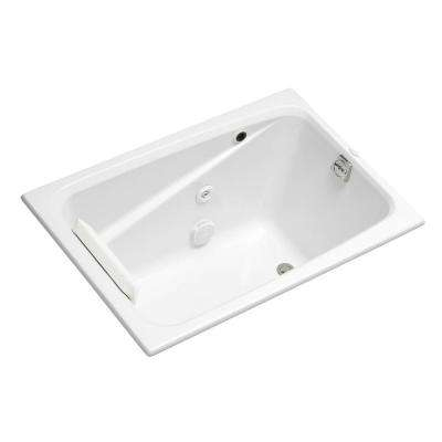 Greek 4 ft. Acrylic Rectangular Drop-in Whirlpool Bathtub with Heater in White