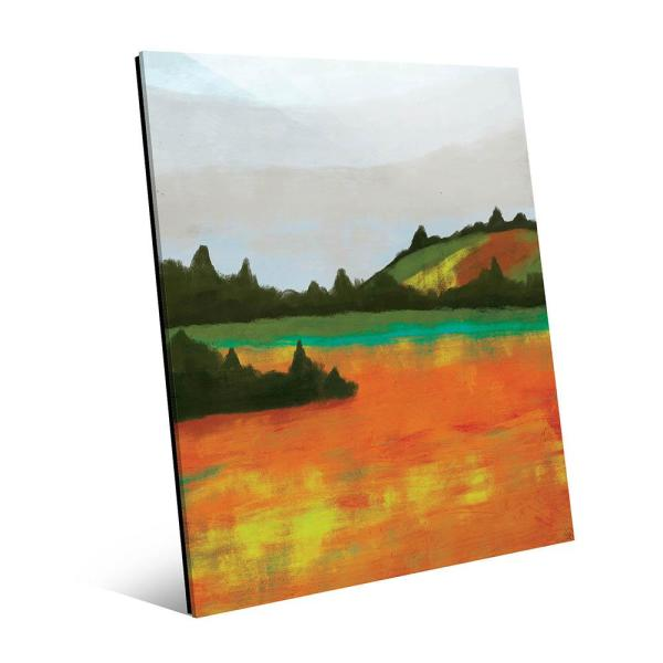 20 in  x 24 in  Autumn Field with Cypress Trees Acrylic Wall Art Print