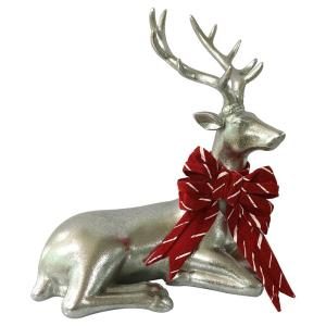 10.75 in. Christmas Morning Silver Sitting Reindeer with Bow