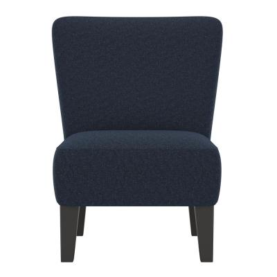 Halstead Upholstered Armless Chair in Deep Blue Tweed