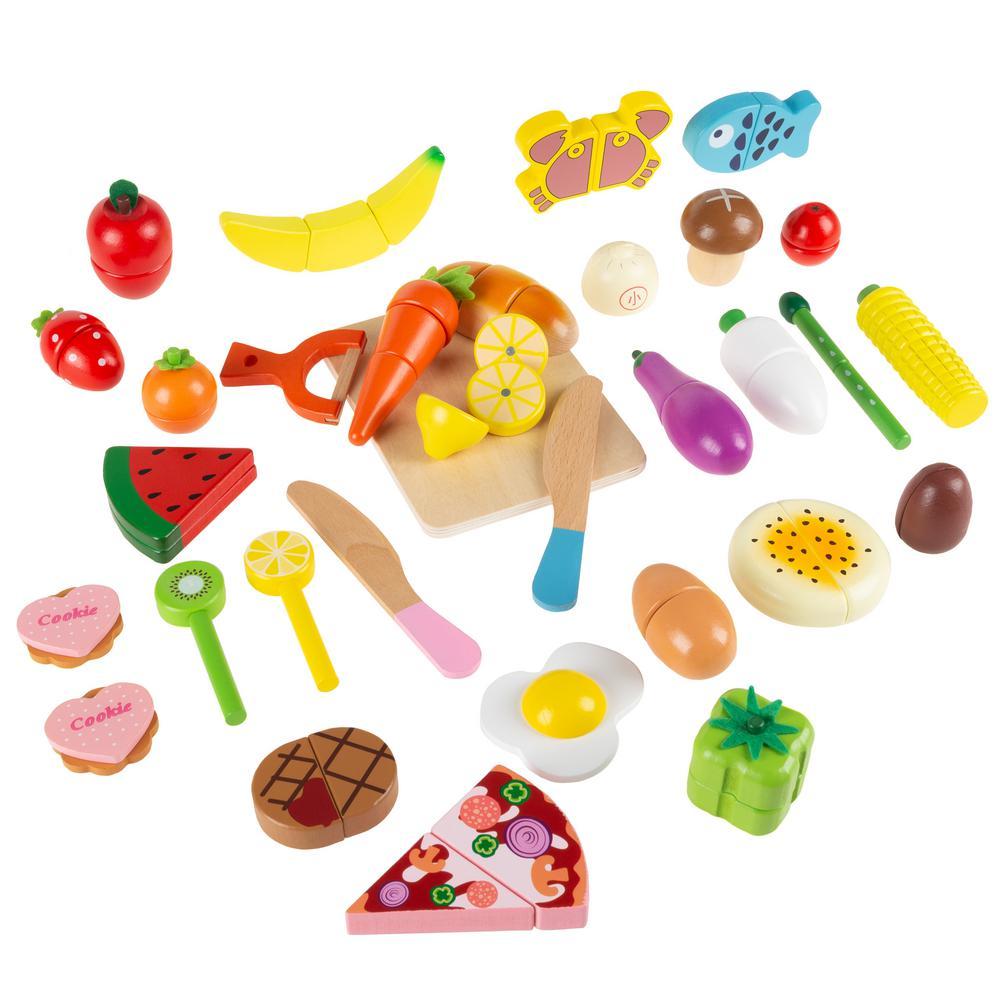 32-Piece Wooden Pretend Play Assorted Food Set