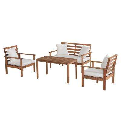 Bosco 4-Piece Wood Patio Seating Set with White Cushions and Pillows