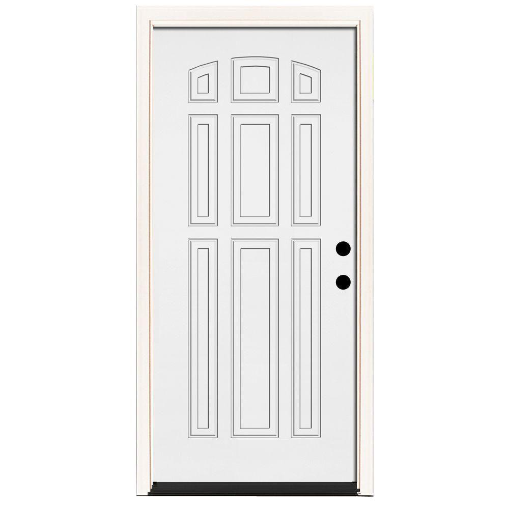 Steves & Sons 36 in. x 80 in. Premium 9-Panel Primed White Steel Prehung Front Door with 36 in. Left-Hand Inswing and 4 in. Wall