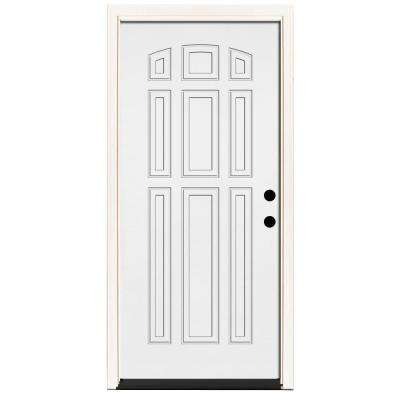 premium 9panel primed white steel prehung front door