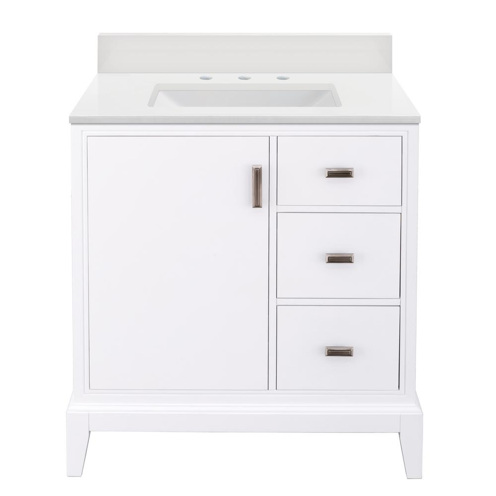 Home Decorators Collection Shaelyn 31 in. W x 22 in. D Bath Vanity in White RH with Engineered Marble Vanity Top in Winter White with White Sink